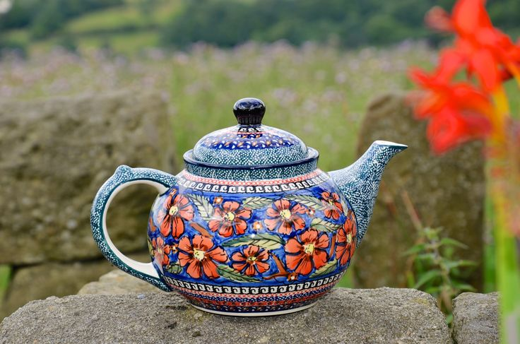 A beautiful artistic Polish Pottery teapot.  To buy visit our website at www.polkadotlane.co.uk