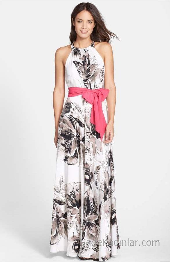 2020 Yazlik Cicekli Sifon Elbise Modelleri Beyaz Uzun Halter Yaka Desenli Belden Kusakli Maksi Elbiseler Sifon Elbise Elbise Modelleri