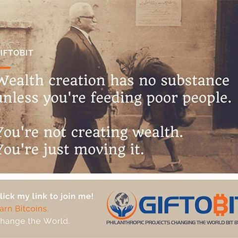 Wealth Creation has no substance unless you're feeding poor people.  You're not creating wealth.  You're just moving it.  #quotes #quoteoftheday #wealth #earnandlearn #changetheworldbitbybit #bitcoin #cryptocurrency #cryptocurrencyeducation #giftobit #suc http://www.buzzblend.com
