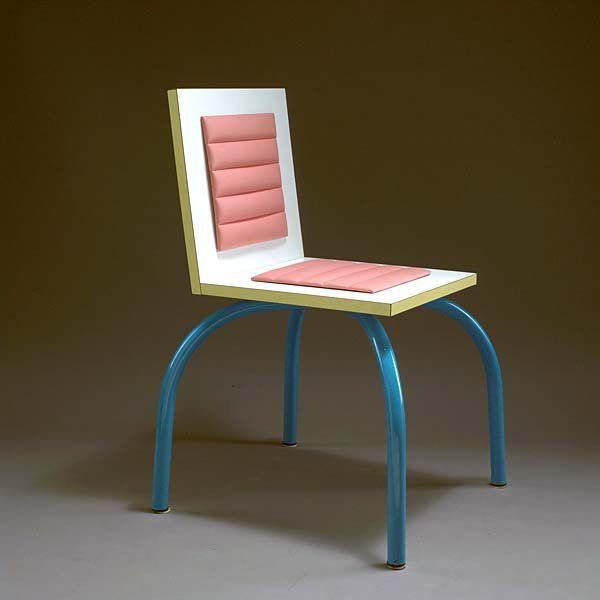 Lucchi Riviera chair, Michele de Lucchi, Memphis Design.  I like the shape, but I think there is way to much going on here