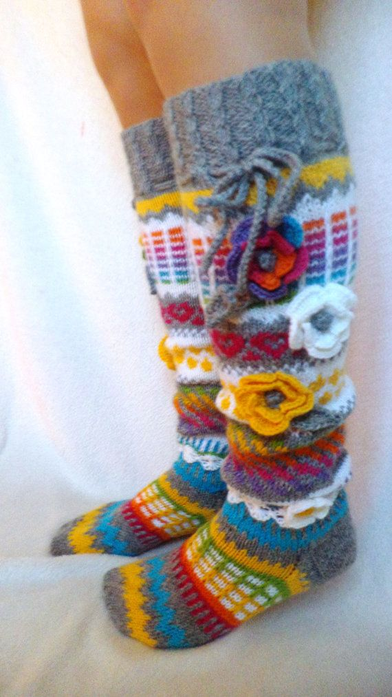 Wool socks Hand knit knee socks handknitted by WillowFairyJewelry