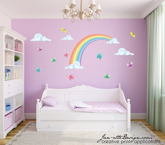 Colorful Pastel Half Rainbow with Butterflies Fabric Wall Decal Set  Rainbow Dimensions: 34 Tall x 52 Wide Clouds: x2 17 wide Clouds & one 10.5
