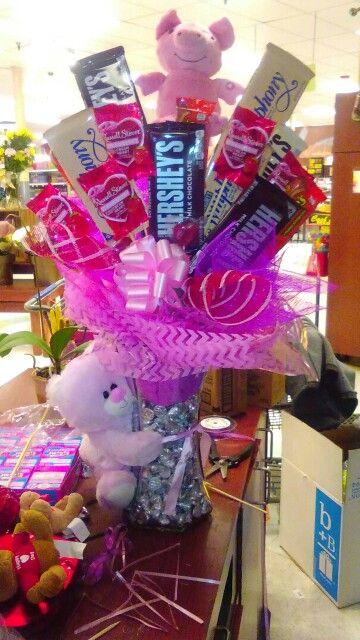 Valentines candy arrangement