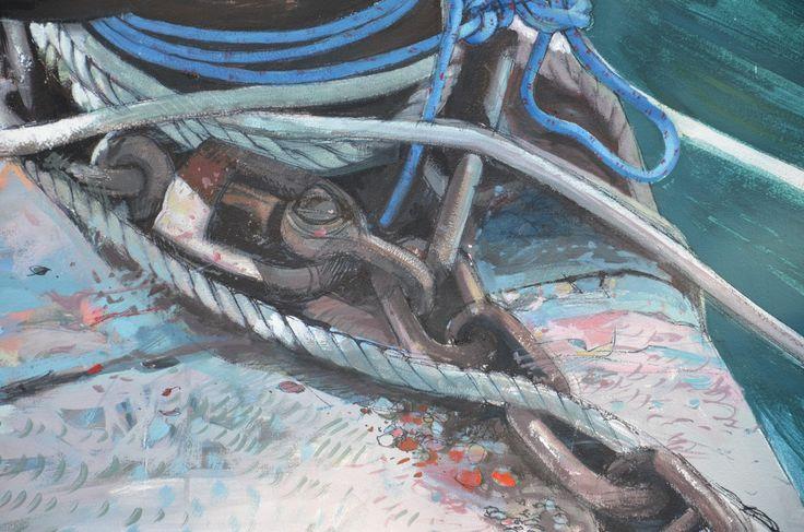 detail ropes and chains bollard Split Croatia - june 2010