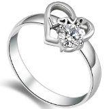 #Gioielli #4: JewelryWe Gioielli anello da donna Moda acciaio inossidabile con Cz forma di amore cuore anello Promessa/fidanzamento/matrimonio(misura R)