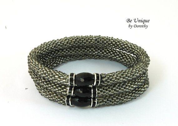 SALE SALE SALE - Reduced price for 3 Bracelets/Glass Beaded Crochet Bracelet roll on bracelet handmade jewelry/Christmas gift/onyx/crystal