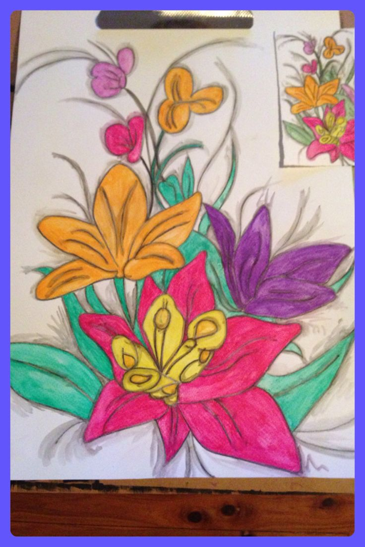 Big and small version  #flowers #drawings