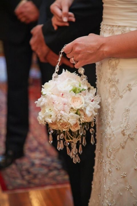 Wedding bouquet with crystal drops by Events in Bloom