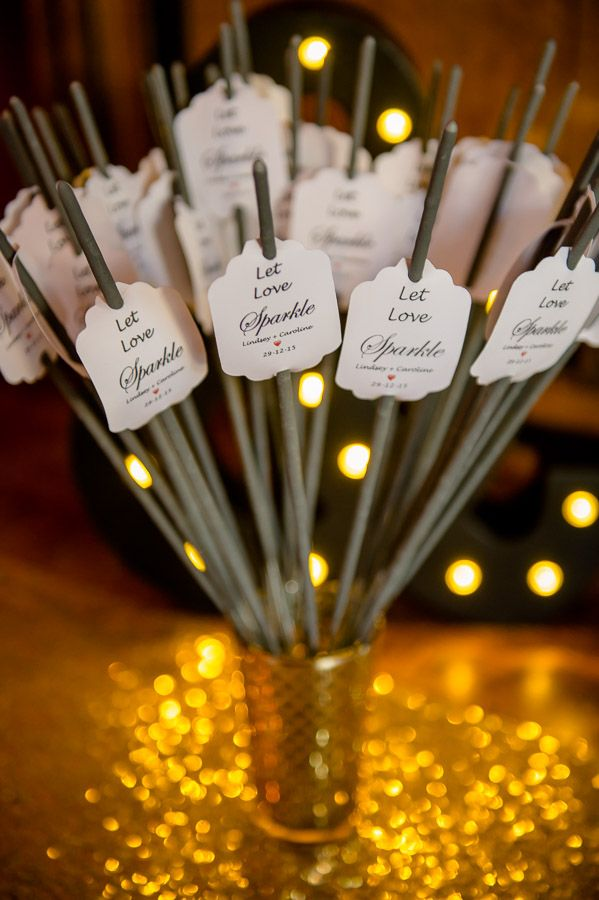 Guests were invited to take a sparkler and join the couple out on the patio for their first dance under the stars.