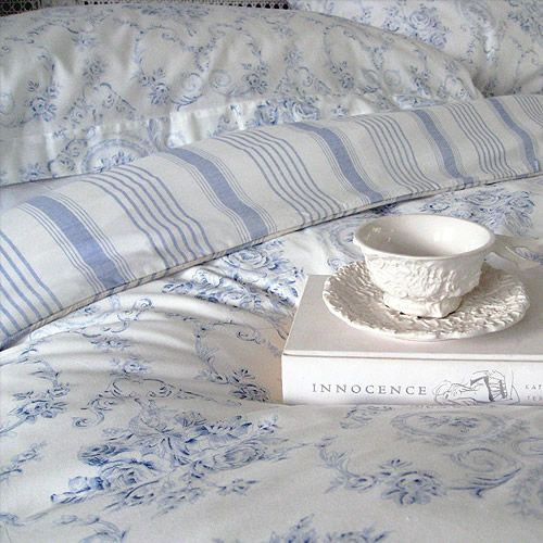 blue & white bedding, tea cup & book - beauty 16