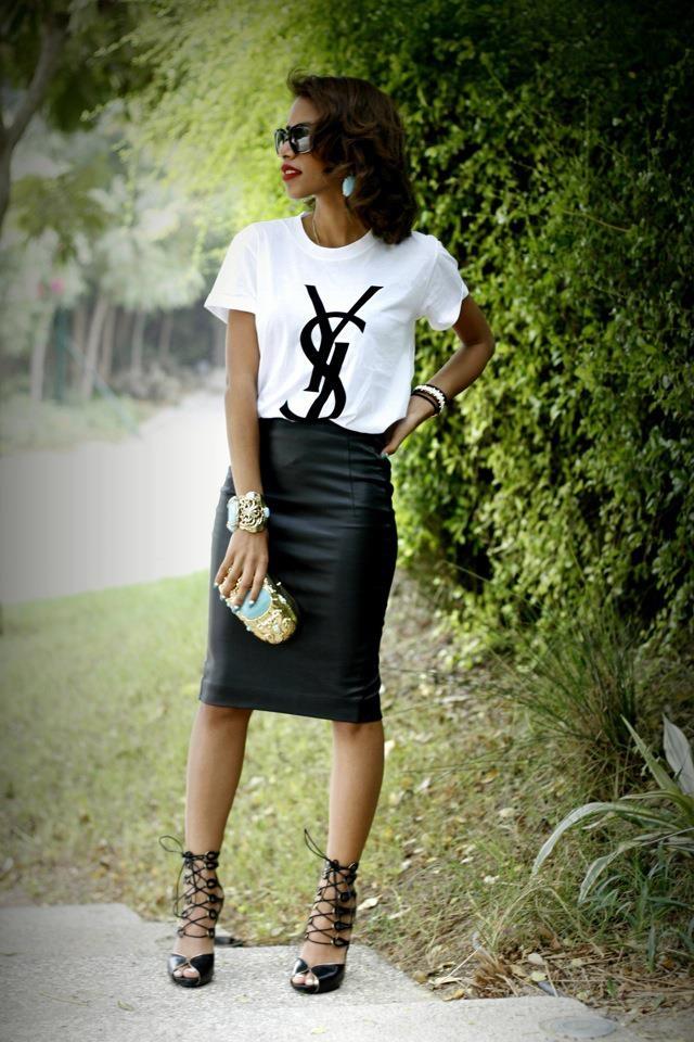 zara skirt, ysl t-shirt, alexander mcQueen heels