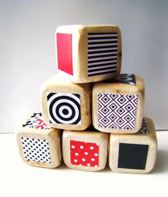 Baby Blocks Developmental Toy Red White and Black Geometric Prints and Patters Shower Gift. $20.00, via Etsy.