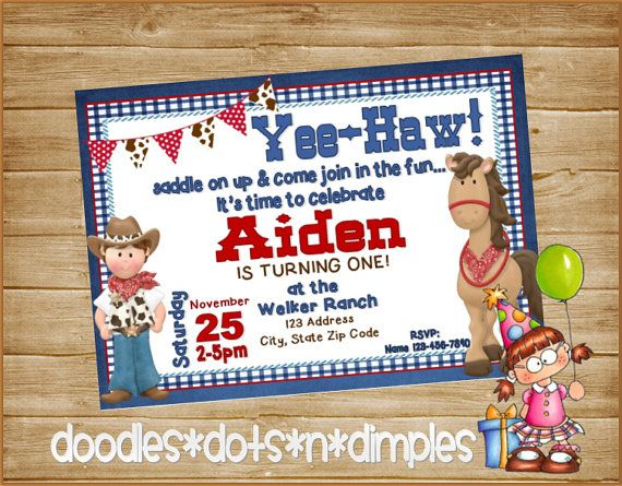 Personalized  Printable Cowboy Birthday invitation by DoodlesDotsnDimples
