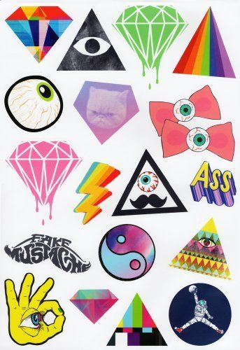 Harajuku sky 17 hipster stickers set for skateboards snowboards scooters bmx