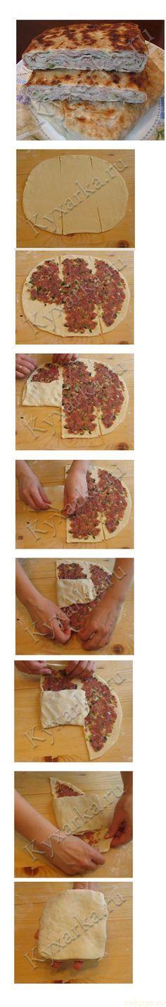 Китайские слоёные лепешки с мясом. / Простые рецепты