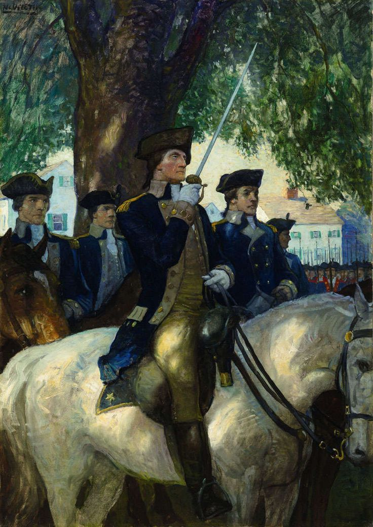 Illustration - The Lucas Museum of Narrative Art N.C. Wyeth (1882-1945) Beginning of the American Union Washington Salutes the Flag as He takes Command of the Continental Army of Cambridge  c.1919 oil on canvas, 34 x 24