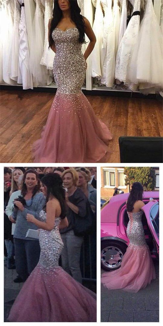 e04c4957 Sparkly Rhinestones Sweetheart Lace Up Long Mermaid Prom Dresses With  Trailing, Cocktail Dresses, VB01224 #promdresses