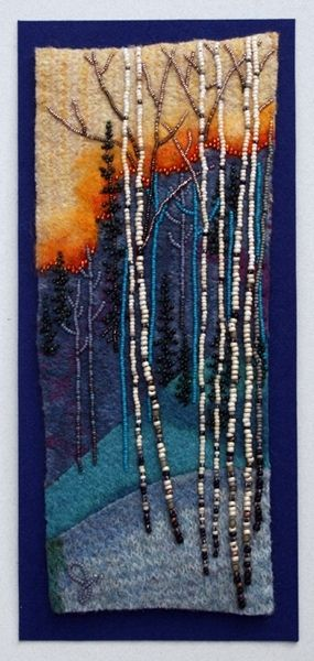Beads on felted fabric: Edge of Sunset