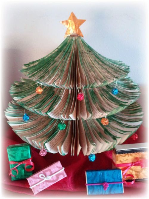 Upcycled Book Christmas Tree Sterp 7 for @Julie Jordan. I think that you will love this, or at least the concept!