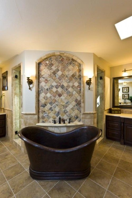 Yes.  Walk-through shower behind that awesome tub.
