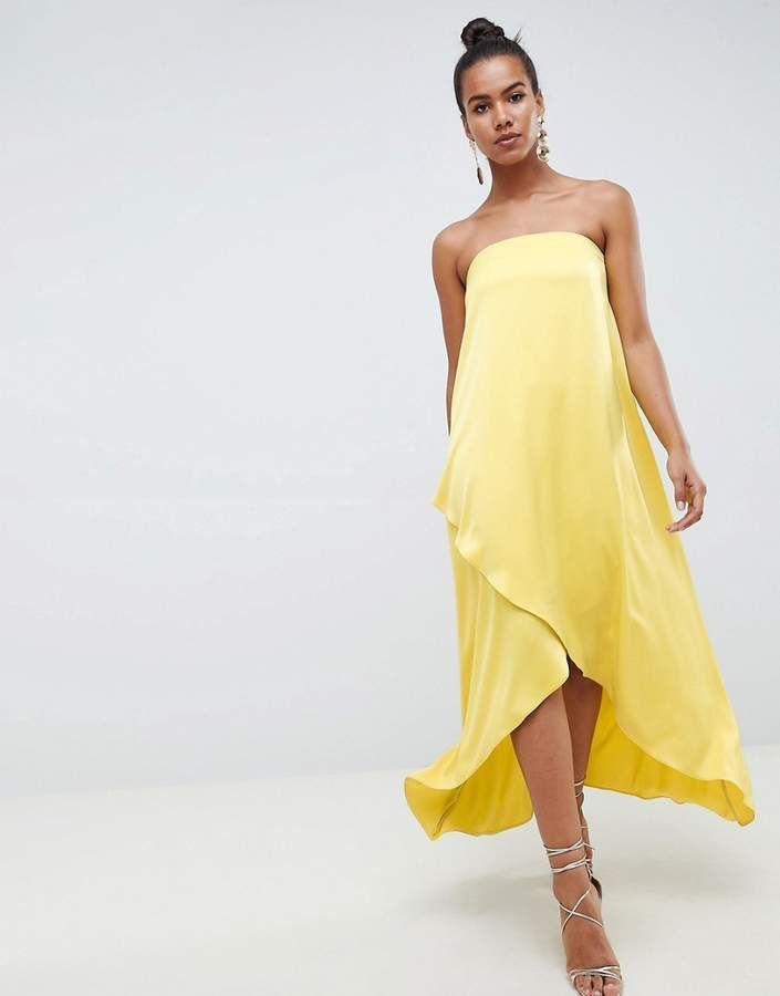 b87f68c9ceac2 ASOS DESIGN satin bandeau maxi dress in chartreuse   Womens Dresses ...