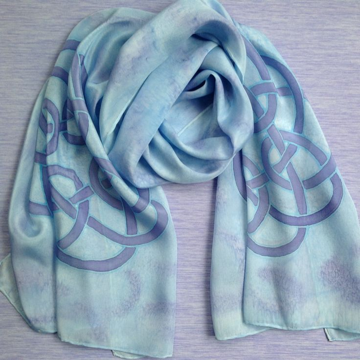 Hand Painted Pale Celtic Love Knot Long Silk Scarf  - FREE POSTAGE UK - Sale - pale blue and purple - pinned by pin4etsy.com