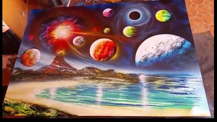 Planets and volcano spray art