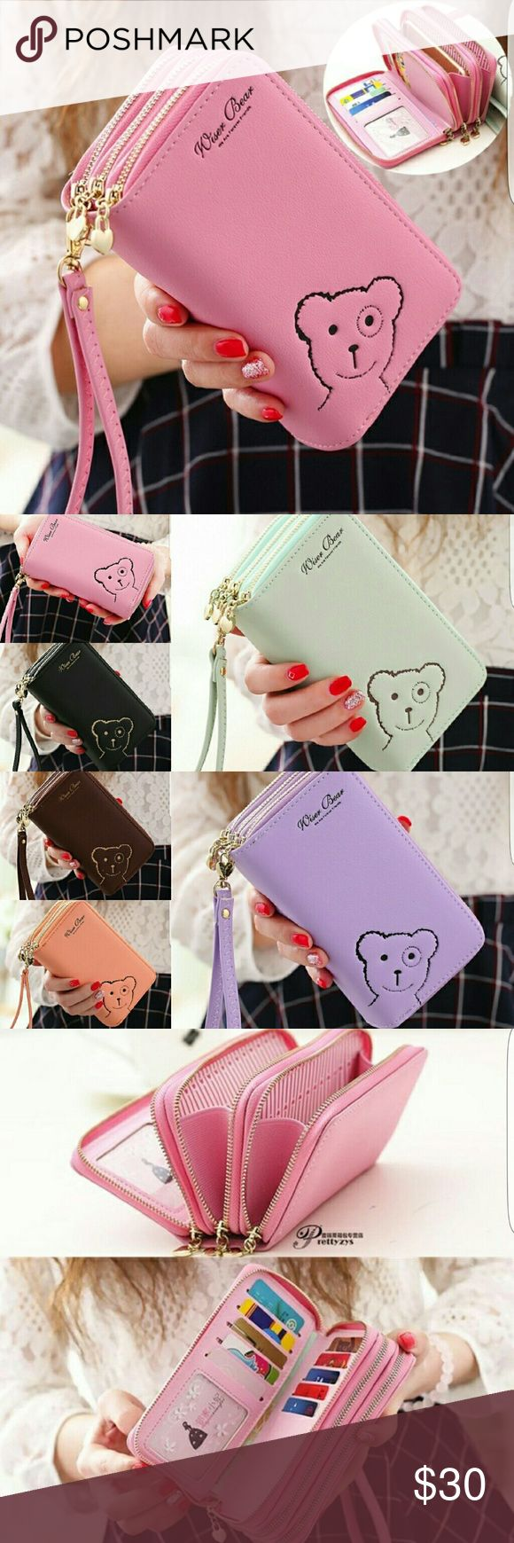 """""""Wiser Bear """" Phone Wrist Wallet 2017 Fashion Women Wrist Wallet ??Cute Bear Lady Handbag Clutch Zipper ??Multifunction Coin Purse ??Universal Phone Case Cover For iPhone 7 6S Samsung Galaxy S7 S6 Edge   ??Description Ingredient: High Quality PU Leather Size: 15 cm x 9.6 cm x 4.5 cm  (L x W x H) Note: Cellphones below 5.5 Inch  Structure: 3 Zipper Pockets 9 Credit Card Slots 1 Photo Frame Package Include: 1 x wallet    1 x Strap - Bags Wallets"""