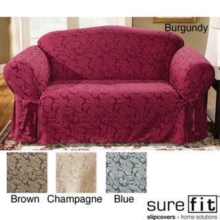 White Leather Sofa Sure Fit Scroll Classic Sofa Skirted Slipcover Upholstery Burgundy