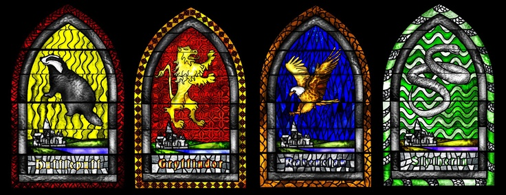 The four houses of Hogwarts as stained glass