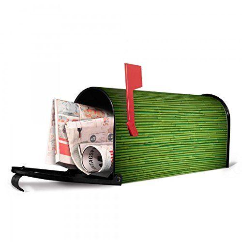 banjado - US Mailbox 17x22x51cm schwarz amerikanischer Briefkasten mit Motiv Bambus Grün, Briefkasten mit schwarzem Standfuß