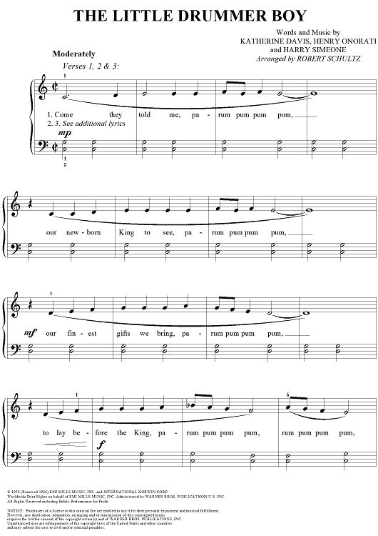 The Little Drummer Boy Sheet Music: www.onlinesheetmusic.com