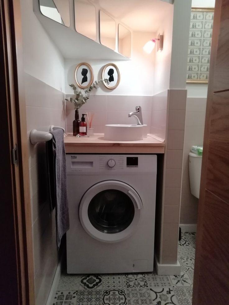 Lavabo sobre lavadora | Muebles ahorra espacio, Baño con ...
