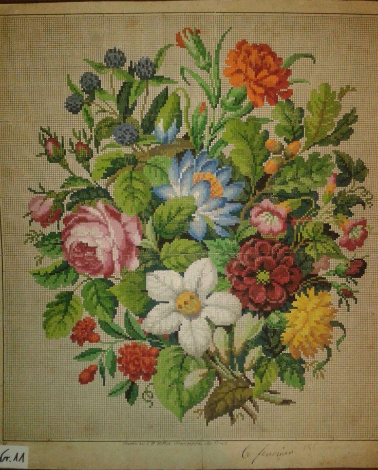 Biedermeier Stickmuster Stickvorlage von L.W.Wittich Berlin woolwork pattern | eBay