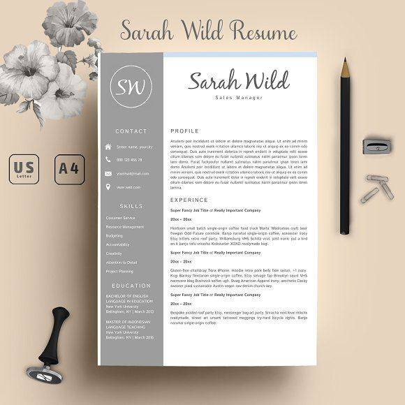 Word Resume Template + Cover Letter  @creativework247