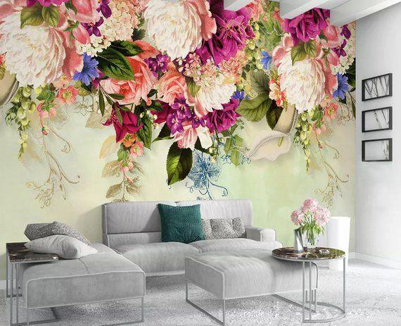 Floral Wallpaper Vintage Pink Flower Wall Mural Peony