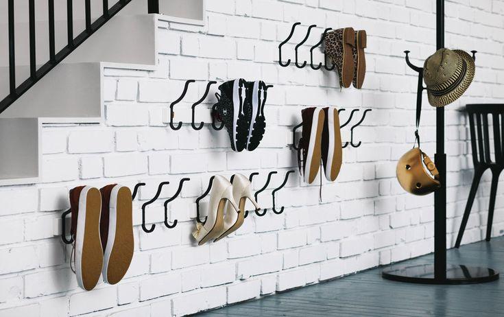 Shoe storage hook solution