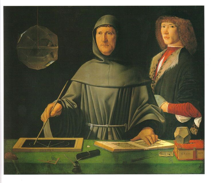The Portrait of Luca Pacioli- Inventor of Accounting The artist included a lot of mathematical shapes because Pacioli wanted to be remembered as a mathematical man. He worked with Da Vinci on a math text book.