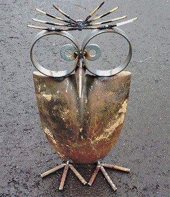Owl made with shovel head and metal -12 Delightful Garden Decor Ideas   eBay