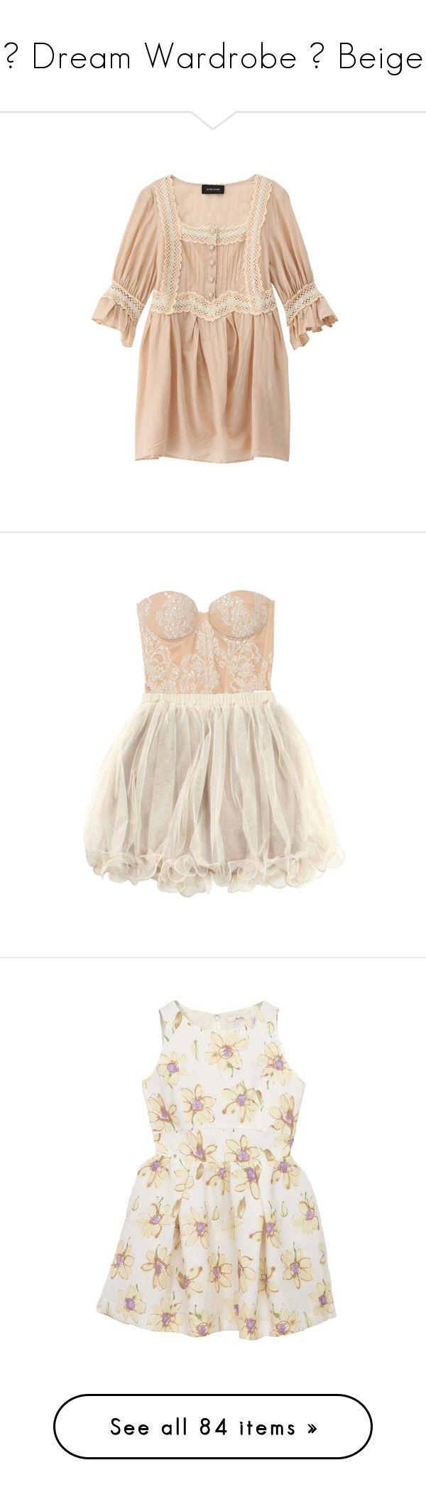 """♡ Dream Wardrobe ♡ Beige"" by elaine-elizabethxo ❤ liked on Polyvore featuring dresses, tops, shirts, vestidos, women, short dresses, sukienki, peach ruffle dress, flutter-sleeve dress and mini dress"