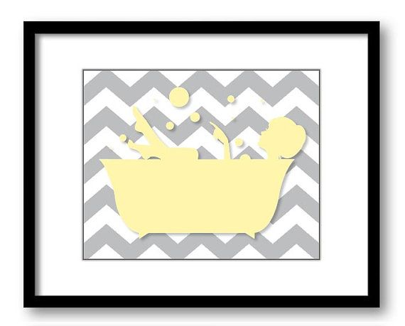 Bathroom Decor Bathroom Print Chalk Yellow and by CustomArtPrints, $1.20
