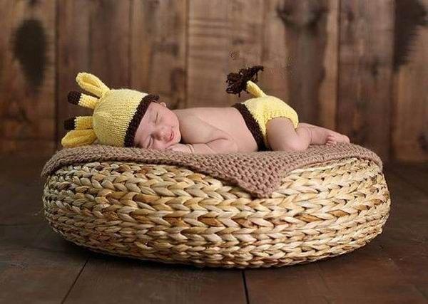 Желтый олень комплект новорожденного младенца ручной костюм вязания крючком фотография опоры новорожденных фото детские шапки шляпы