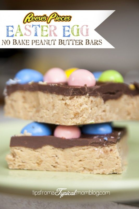Easter Egg Reese's Pieces No Bake Peanut Butter Bars - Tips from a Typical Mom