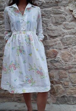Vintage 80s White Cotton Floral Shirt Dress