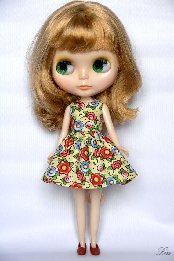 Blythe Licca doll yellow flower cotton dress by LinLinn on Etsy