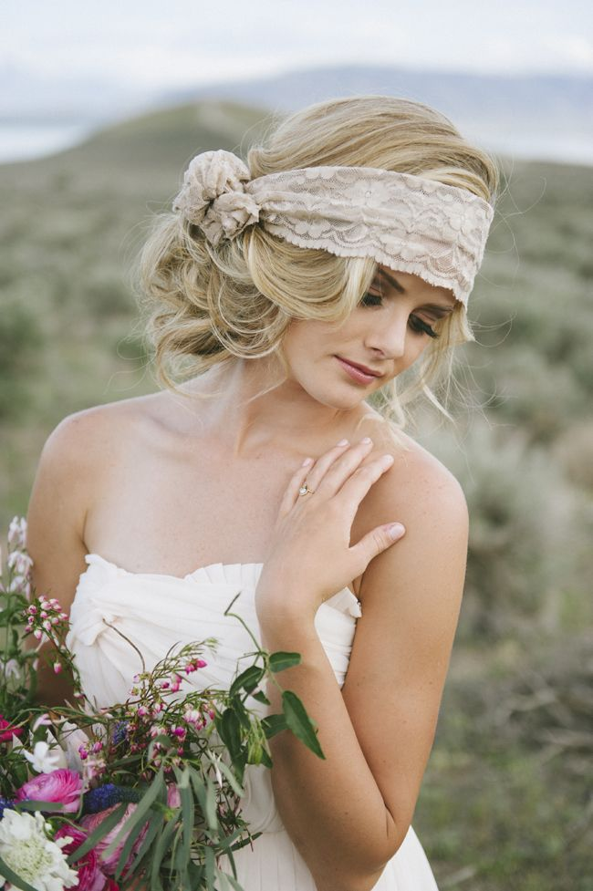 A lace headwrap for the perfect rustic bohemian look.