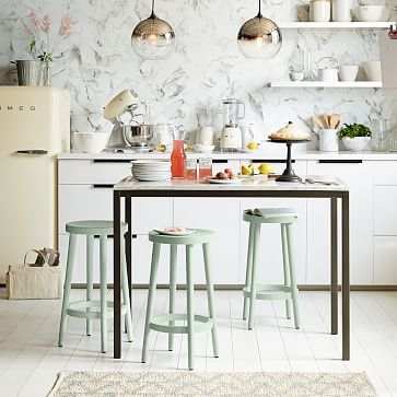 """I like these 'cafe stools' from West Elm.  I just need to see if their height is workable in my kitchen (they're 24"""" high)."""