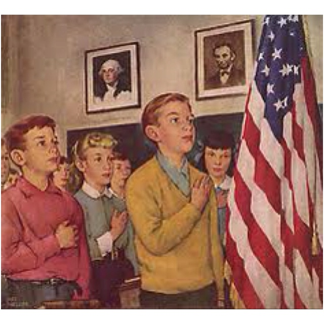 Daily morning pledge of allegiance in grade school classroom.