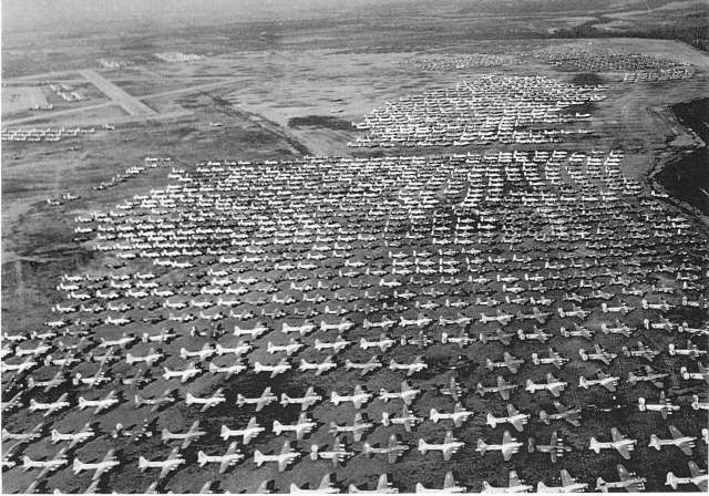 Aerial View Of B 17 Flying Fortresses In Storage At Walnut