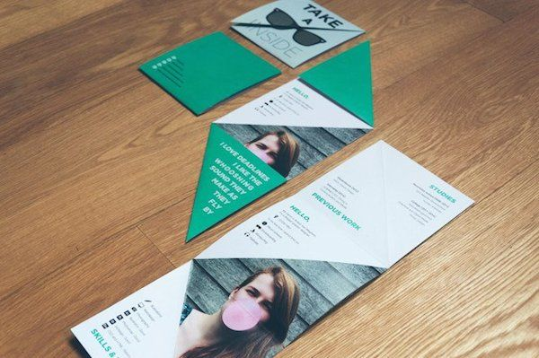 I happen to like the fold. Effective and unconventional.  Awesome, Inspiring Résumés Show How Good Design Would Get You Hired - DesignTAXI.com